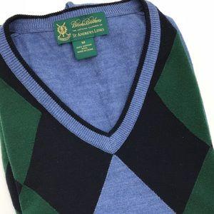 Brooks Brothers St Andrews Argyle Sweater Blue M